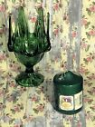 Glass Candle Holder Footed Pedastal Vintage Anchor Hocking Avocado Green 7 3/4