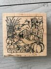 PSX WOOD RUBBER STAMP FALL HARVEST FIELD PUMPKINS SCARECROW G 1409 1995