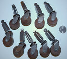 Antique Lot of 9 Furniture Casters Wood Wheels 3 3/8