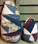 2 Primitive Rustic Quilted Eggs Bowl Fillers Ornies Ornaments Set