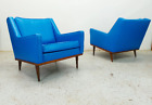 Milo Baughman James Inc mid century modern authentic leatherette lounge chairs