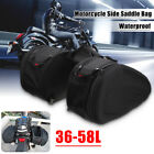 2pcs 36 58L Motorcycle Side Saddle Luggage Bag Helmet Waterproof With Rain Cover