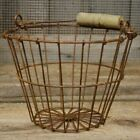 New French Primitive Wire Egg Basket Vintage Home Decor Bucket Farmhouse style
