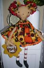 PRIMITIVE RAGGEDY ANN DOLL~fall~pumpkins-sunflowers~wooden happy fall~