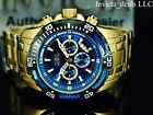 NEW Invicta Mens 50mm Pro Diver Scuba Chronograph Gold Plated Blue Dial SS Watch