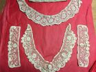 LOT ANTIQUE LACE TRIMS CUFFS COLLARS Floral Wedding CROCHET BOBBIN LACE Ivory