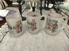 VINTAGE SET OF 3 GAY FAD 12 oz MUGS /BARWARE FROSTED GLASS SET