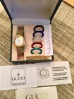 AUTHENTIC Vintage Gucci Gold Ladies Watch With Box, Booklet, 6 Metal Bezels.
