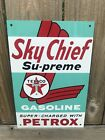 Texaco Sky Chief Gasoline metal sign baked Oil Gas Pump Plate