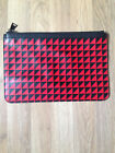 Red Black leather clutch pouch bag by Proenza Schouler Triangle print