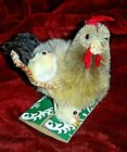 Vintage Chenille Hen Rooster 2 chicks Rare Large Pristine New Old Stock on Card