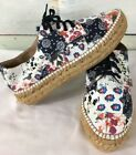 GAIMO Unique Floral Fabric Lace Up Espadrille Sneakers Size 40  95 9 1 2