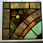 Architectural Salvage Leaded Stained Glass- Green, Brown, Orange, Teal