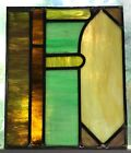 Architectural Salvage Leaded Stained Glass- Teal, Yellow Pillar