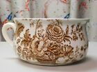 Antique Coffee Brown Charlotte Chamber Pot made in England Floral