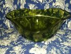 Vintage Mid Century Serving Indiana Glass Olive Green Glass Salad Bowl Scalloped