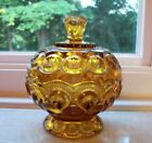 Vintage Amber Glass Moon and Stars Covered Candy Dish