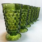 6 Vintage Colony Whitehall Green Avocado Glass Iced Tea Tumbler Footed Goblet
