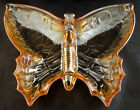 Jeannette Glass marigold carnival glass butterfly candy or trinket dish