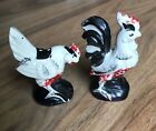 Vintage Chicken And Rooster Salt And Pepper Shaker Ceramic Hand Painted In Japan