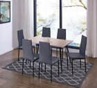 IDS Rectangle Wood Dining Table Set with Fabric Chairs Livng Room Furniture