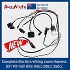 Complete 4 Stroke Dirt 250cc Bike Kick Electric Start Engine Wiring Loom Harness