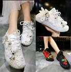 New Women Flowers Diamonds Sneakers Lace Up Sport Party New Canvas Flat Shoes Sz