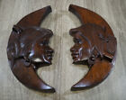 Vintage Hand Carved Crest Moon Native American w/ Smoking Pipes Wood Art