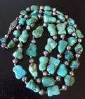 Vtg necklace Chinese turquoise nugget sterling beads 28 gm filigree knotted