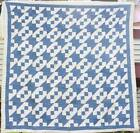Blue and White Antique Quilt with Red