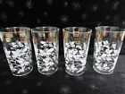 4 VINTAGE WHITE HIBISCUS FLOWERS GOLD GREEK KEY GLASSES WATER TUMBLERS 4 3/4