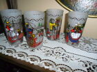 WORLD CULTURE FESTIVAL GLASSES SET OF 4 FROSTED HAND DESIGN 1960's