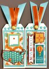Premade Scrapbook Page SEWN Tags EmbellishSet of 2 Large New Mexico