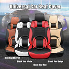 Full Set Car 5 Seat Leather Cushion Front Rear Steering Wheel Cover Pillow