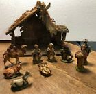 Vtg Nativity Set Italy 10 Piece Wooden Creche Manger Chalkware Figures 4