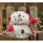 Primitive SITTING FURRY SNOWMAN DOLL MITTENS Country Winter Christmas Holiday