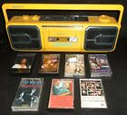 vintage Sony Sports Yellow BoomBox CFS-950 - Tested Works! w/7 music cassettes