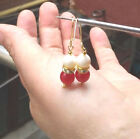 hot  AAA+ natural Perfect round pair red jade+white pearl earring 14k