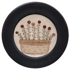 Primitive Country COUNT YOUR BLESSINGS PLATE Farmhouse Flowers Wooden Rustic