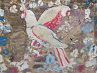 Antique Primitive Parrots Bird Motif Hand Hooked Rug Folk Art 25