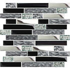 5 Black Silver Tiles Clear Glass Mosaic Kitchen Subway Brick Tile Accent Wall