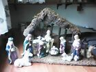 Porcelain Nativity Scene Vintage 1990s 11piece set + Rustic Manger Used Once
