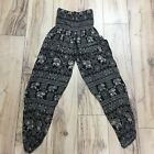Thialand Baggy Elephant Black White Trousers 6-12 High Waisted Boho Ethnic EE