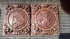 ANTIQUE MEDIEVAL SOLDIER CARVED OAK PANEL PAIR ARCHITECTURAL SALVAGE