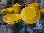 4 DINNER PLATES set lot daffodil yellow HOMER LAUGHLIN FIESTA WARE 10.5
