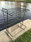 Mid Century Modern Tony Paul Style Black Wire Metal Record Rack Phonograph Stand