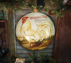 Primitive Antique Vtg Style Farm Barn Rooster Chicken Grain Seed Dome Sign