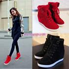 New Womens canvas Ladies Lace Up High Top Sneaker Hidden Wedge Heel Ankle Boots