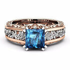 Women 18K Rose Gold Plated Blue Topaz Wedding Engagement Charm Ring Sz 6 10