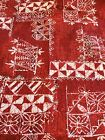 "BATIK UPHOLSTERY COTTON FABRIC MAROON RED CREAM DRAPERY HEAVY 43""W BTY"